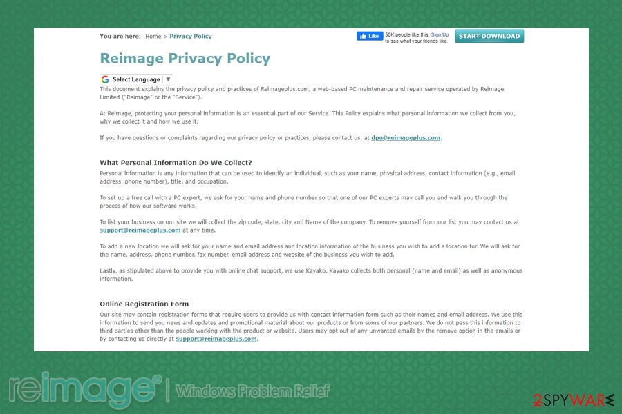 Reimage Privacy Policy