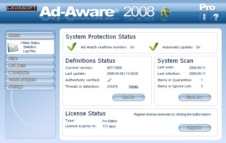 Ad Aware Pro snapshot