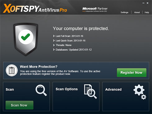 XoftSpySE Anti Spyware snapshot