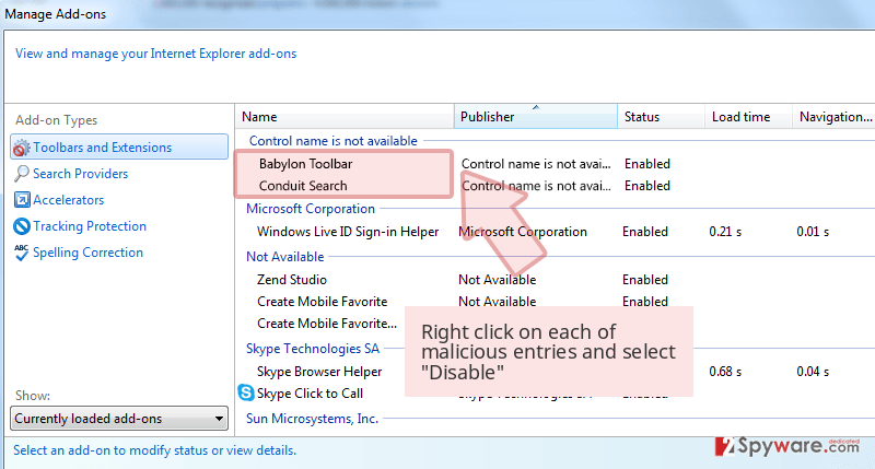 Right click on each of malicious entries and select 'Disable'