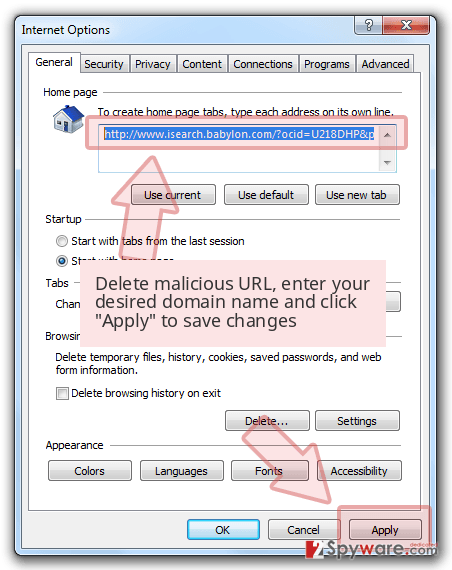 Delete malicious URL, enter your desired domain name and click 'Apply' to save changes