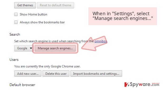 When in 'Settings', select 'Manage search engines...'