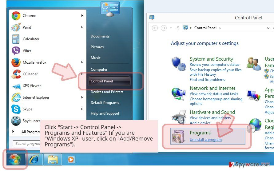 Click 'Start -> Control Panel -> Programs and Features' (if you are 'Windows XP' user, click on 'Add/Remove Programs').