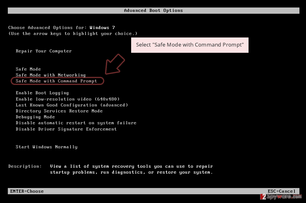 Select 'Safe Mode with Command Prompt'