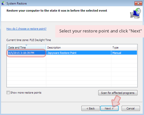 Select your restore point and click 'Next'