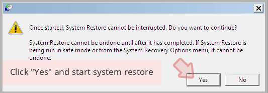 Click 'Yes' and start system restore