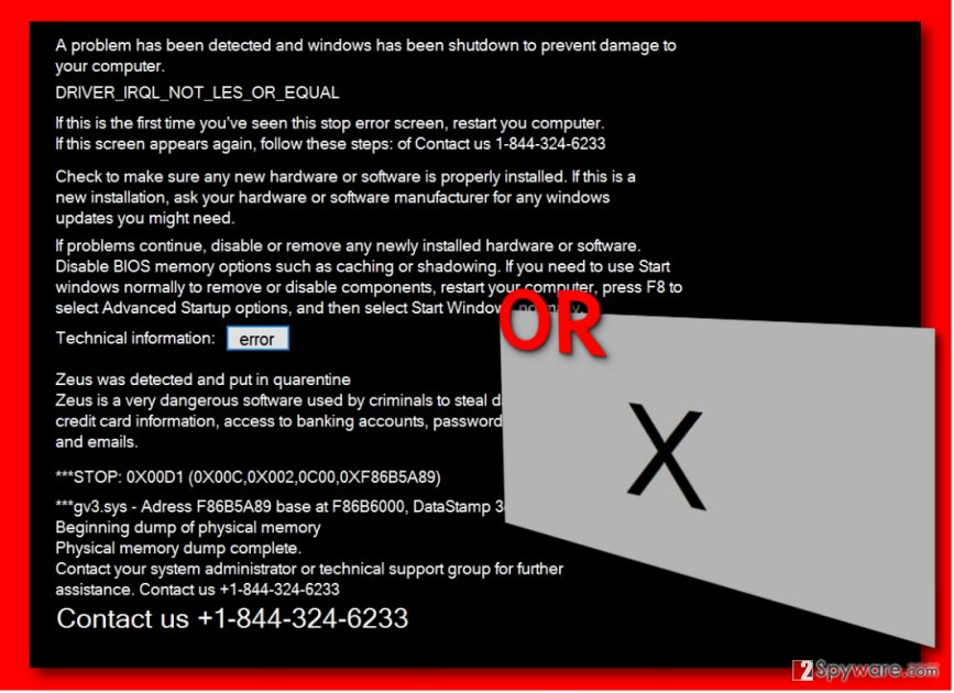 Messages shown by 1-844-324-6233 Tech Support Scam virus