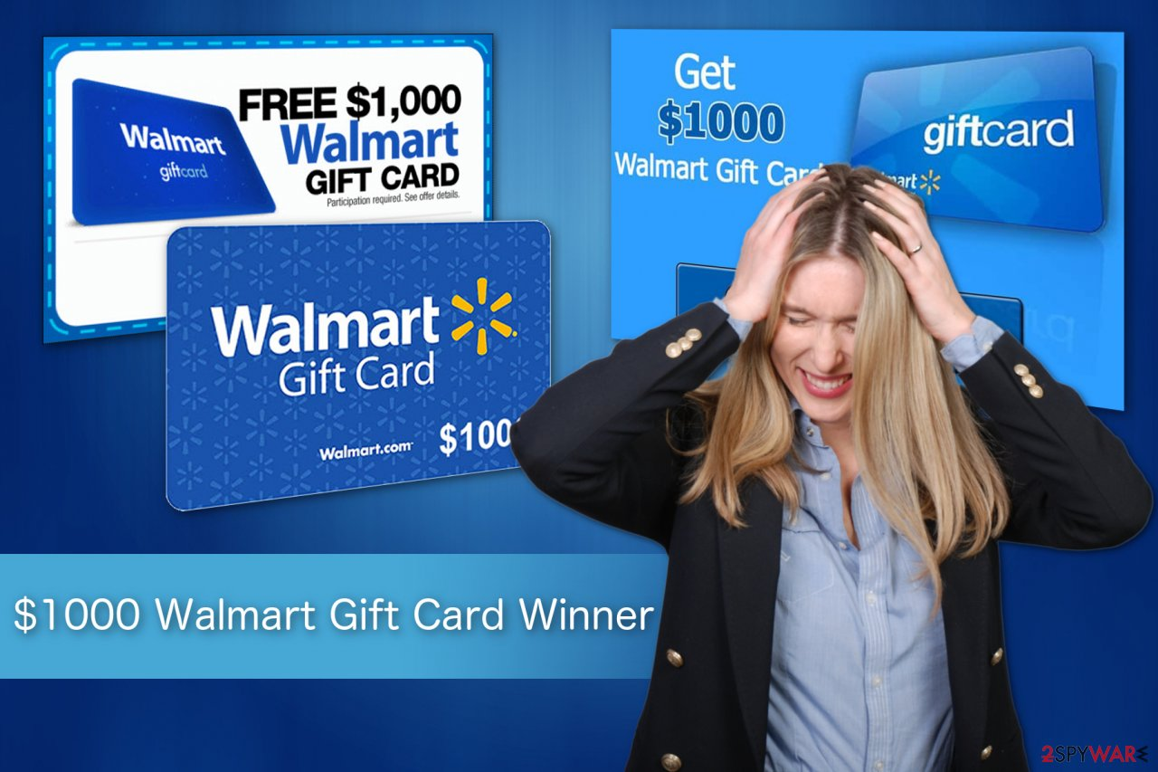 $1000 Walmart Gift Card Winner scam illustration