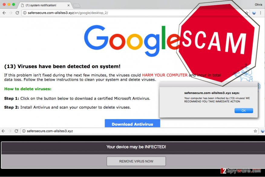 Tech support scam malware displays fake (13) Viruses have been detected on system alerts
