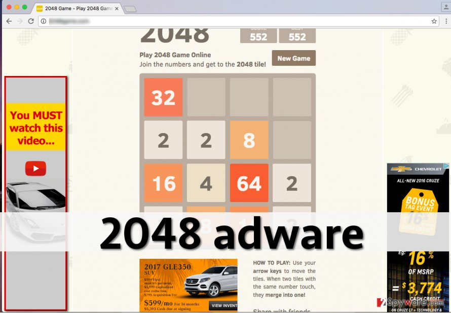 Ads by 2048 on screen