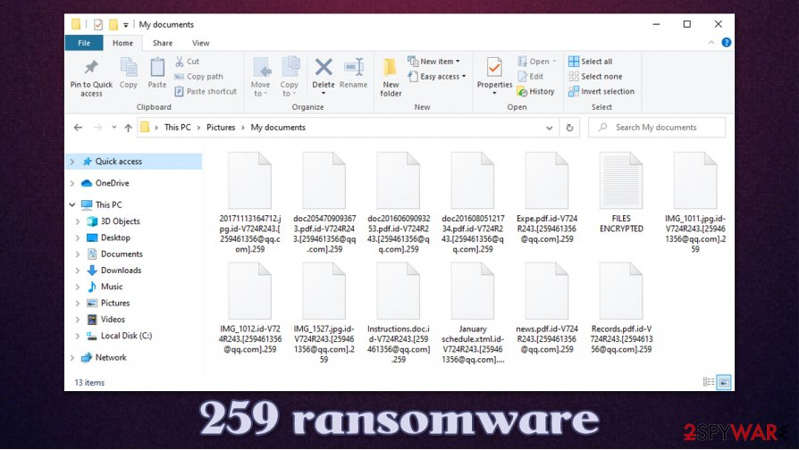 259 ransomware encrypted files