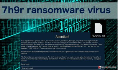 An image of 7h9r ransomware virus