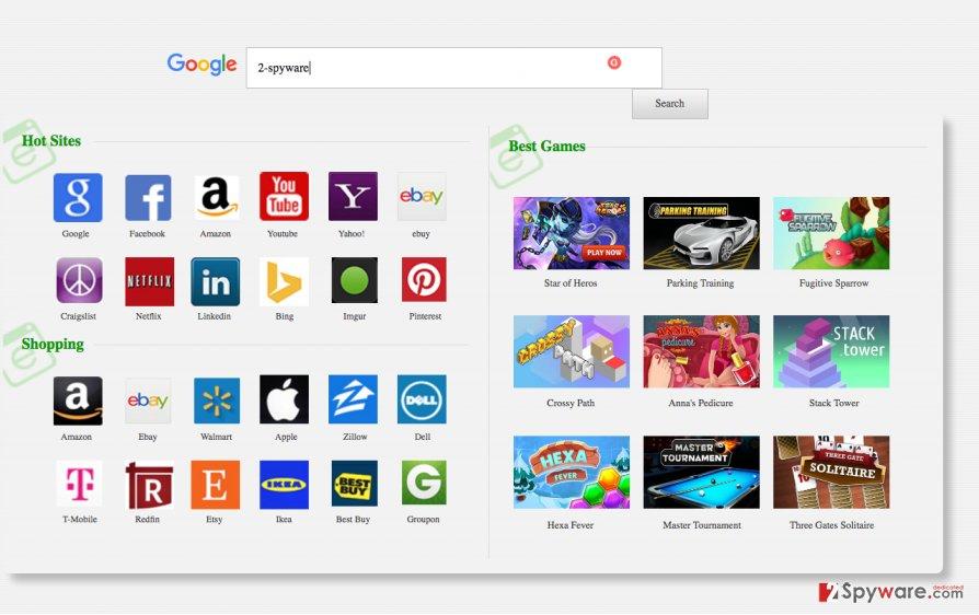 A screenshot of the 9o0gle.com browser hijacker