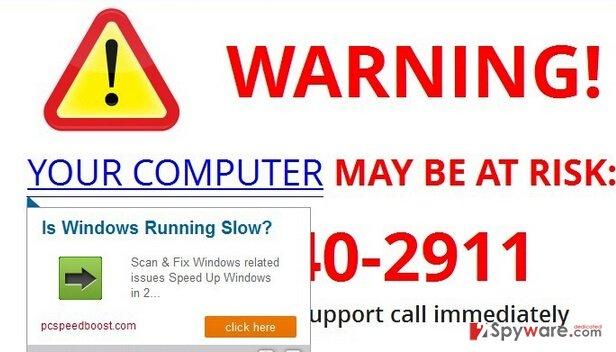 A2ztech.us pop-up virus snapshot