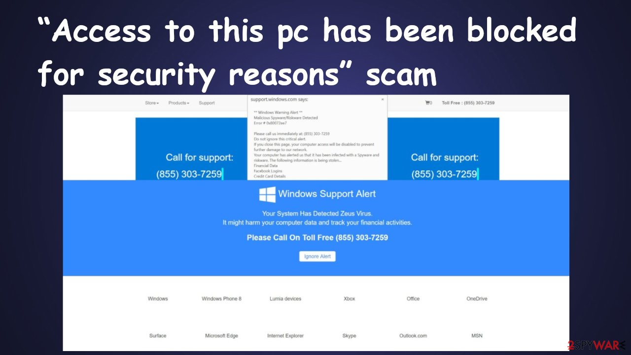 """""""Access to this pc has been blocked for security reasons"""" scam"""