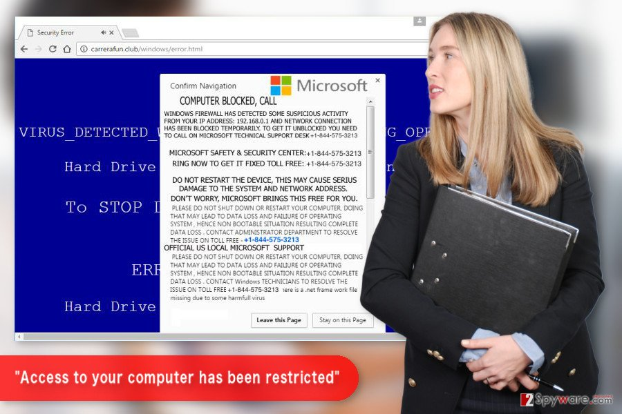 """The illustration of """"Access to your computer has been restricted"""" Tech support scam virus"""