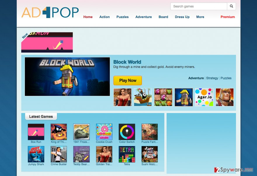 Illustration of the Ad4Pop adware website