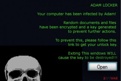 The picture of AdamLocker ransomware virus