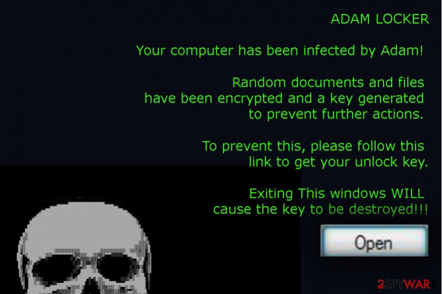 The picture of AdamLocker ransomware virus