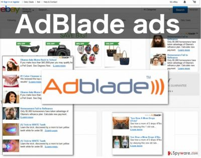 An image of the AdBlade ads displayed on shopping website