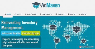 The screenshot of AdMaven website