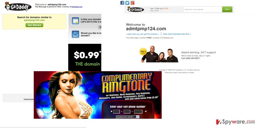 The screenshot of admtpmp124 virus