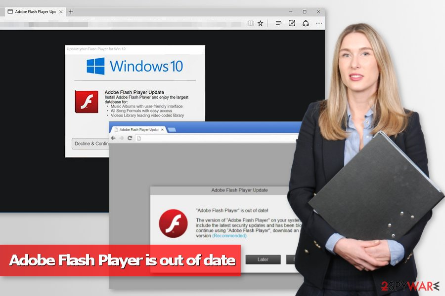 Adobe Flash Player is out of date pop-up