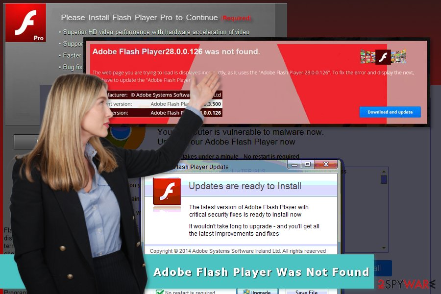 "Illustration of ""Adobe Flash Player Was Not Found"" scam"