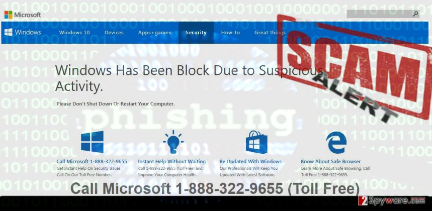 Phony website that Adobe Flash Tech Support Scam virus opens