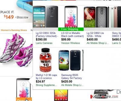 The picture showing ads by JoinTheShop virus