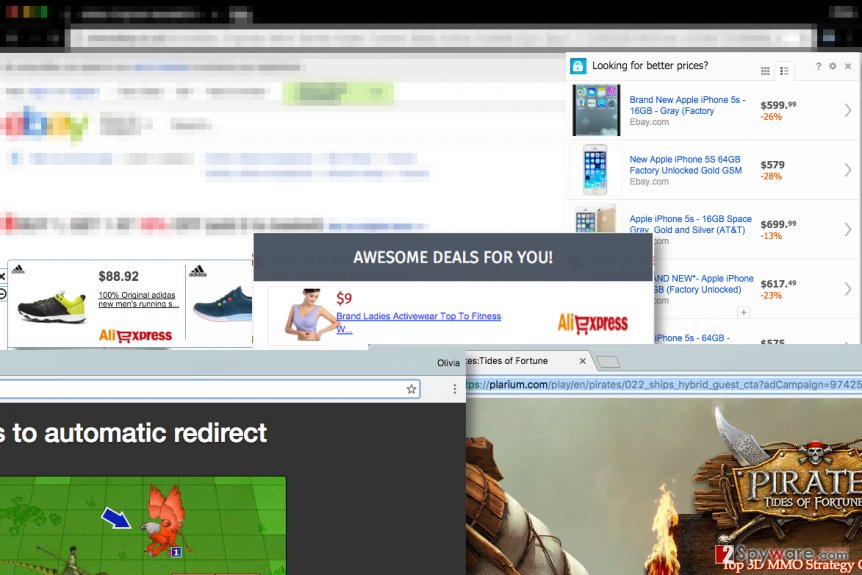 Examples of ads placed by MoneyFriend virus