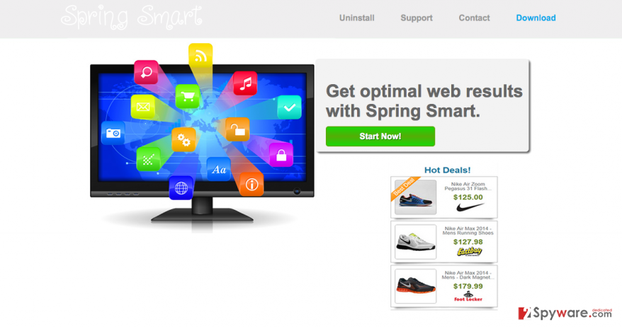 An official website of Spring Smart and some of its ads