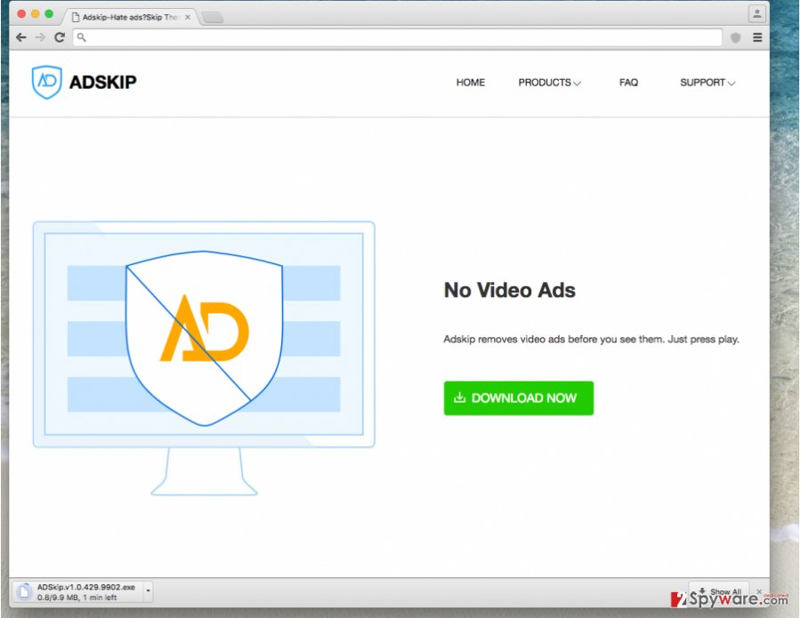 Screenshot of Adskip adware's website