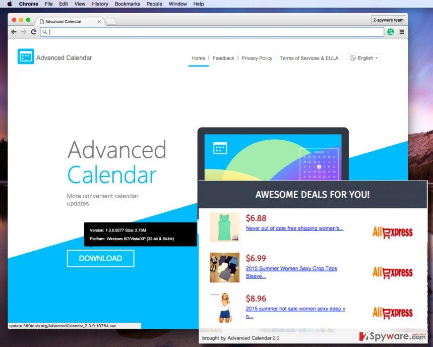 Advanced Calendar 2.0 adware sends annoying pop-up ads