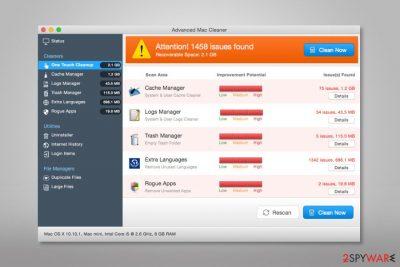 Advanced Mac Cleaner scan report