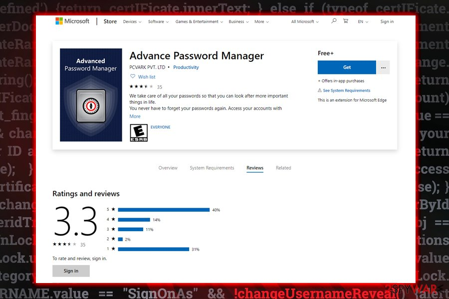 Advanced Password Manager questionable app