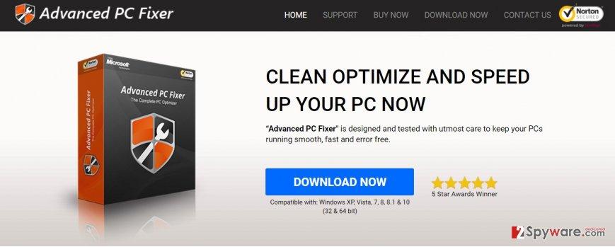 The screenshot of the Advanced PC Fixer website