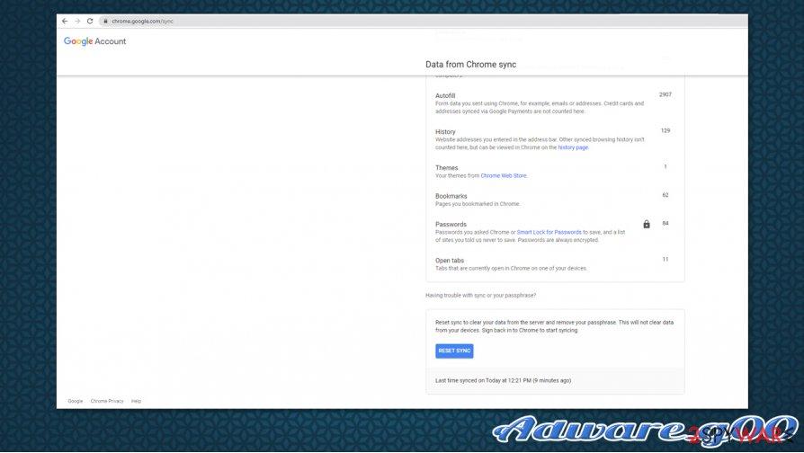 Adware.g00 Chrome sync reset