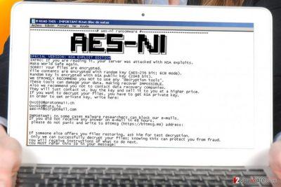 AES-NI ransomware note 2017 April