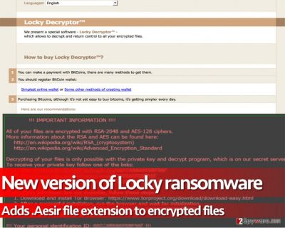 Aesir virus is yet another version of the infamous Locky ransomware