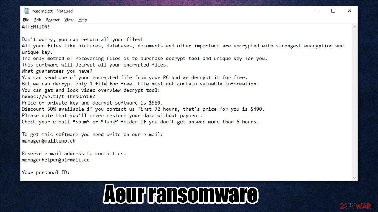 Aeur ransomware