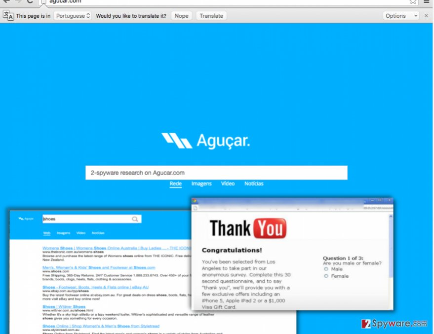 Screenshot of Agucar.com search engine
