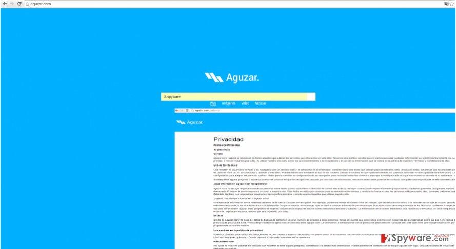 The picture showing aguzar.com virus