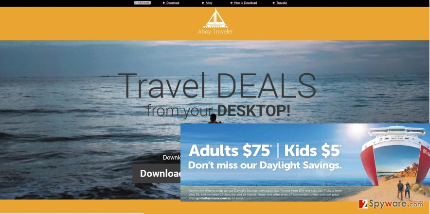 The image showing Ahoy Traveler ads