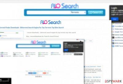 The screenshot of Aiosearch.com hijacker