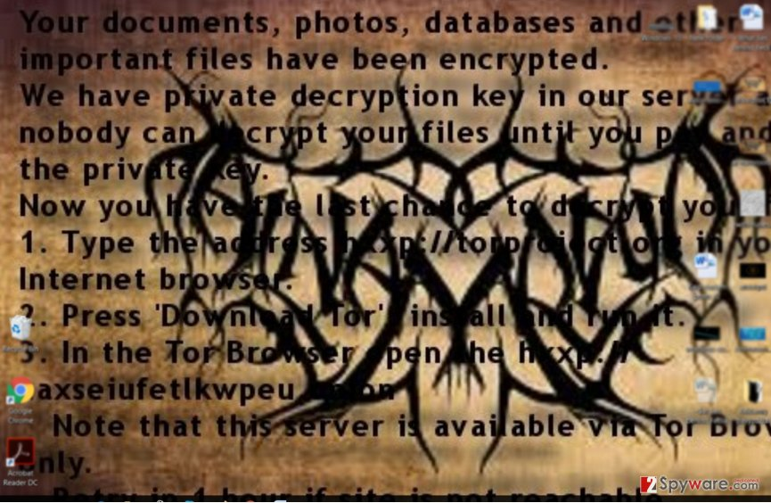 Al-Namrood ransomware ransom note