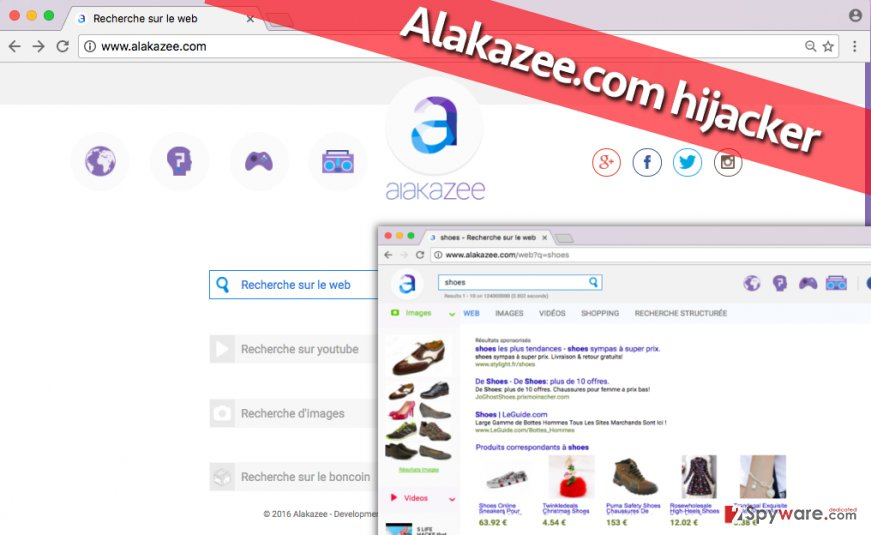 Suspicious search by Alakazee.com virus