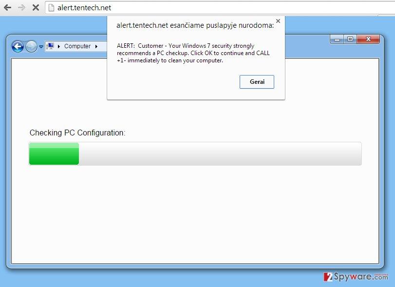 Alert.tentech.net pop-up virus snapshot