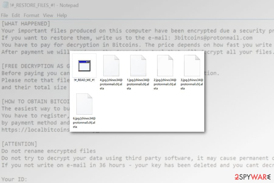 Aleta ransomware encrypted files