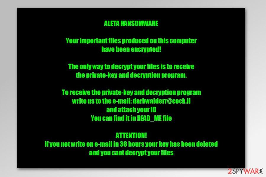 Aleta ransomware ransom note